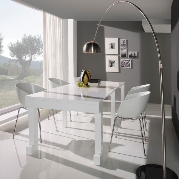 Table console extensible laqu e blanc mobilier for Table extensible laquee