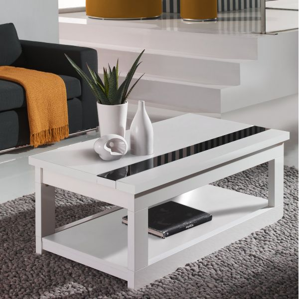 table basse relevable laqu e blanche 110 cm deco et saveurs. Black Bedroom Furniture Sets. Home Design Ideas