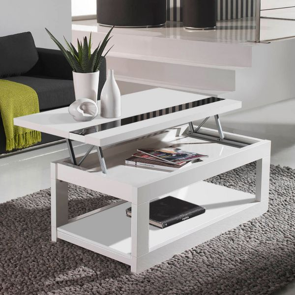 Table rabattable cuisine paris table basse en osier - Table basse relevable blanc laque ...