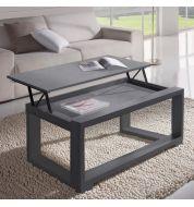 Meuble tv design gris et blanc laqu deco et saveurs - Table basse relevable grise ...