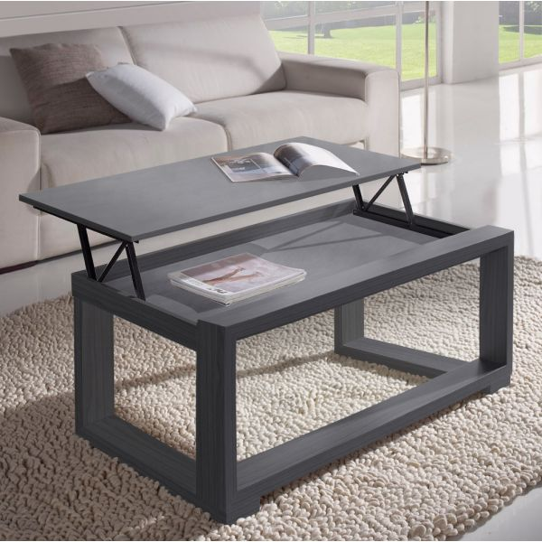 Table basse relevable plateau grise cadre gris meuble salon for Table de salon relevable