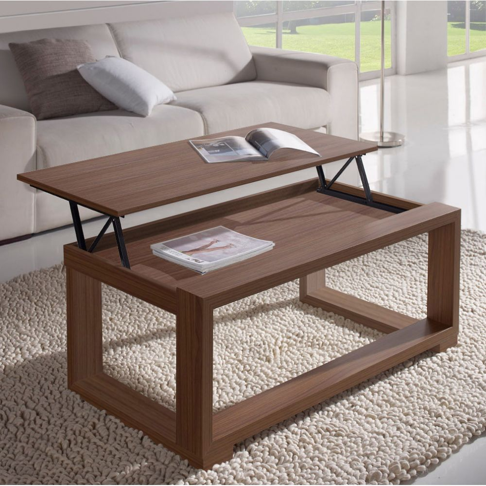 Table basse relevable on pinterest for Table basse bois relevable