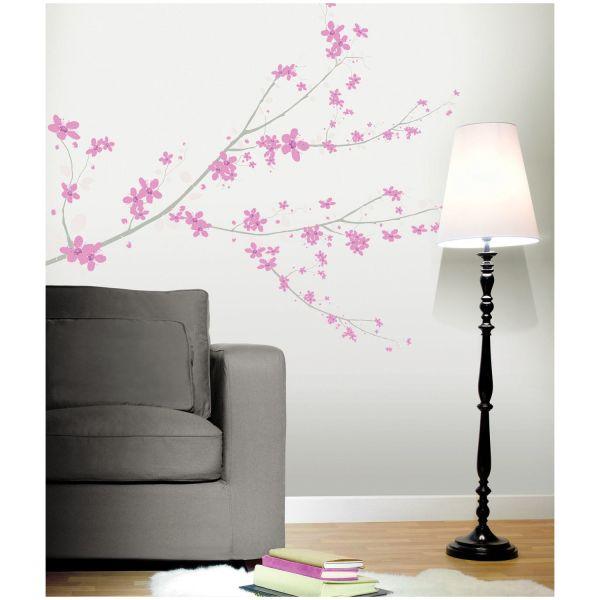 stickers fleurs cerisier rose stickers salon. Black Bedroom Furniture Sets. Home Design Ideas