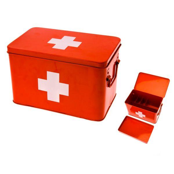 Armoire pharmacie rouge present time rangement salle de bain - Boite a pharmacie design ...