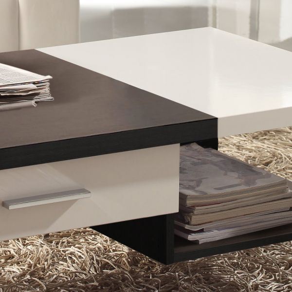 Table basse salon bois blanc for Table basse babou
