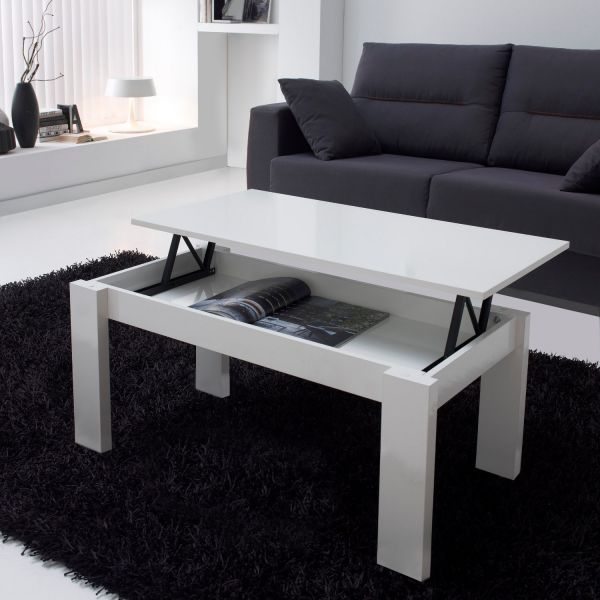 Table basse relevable blanche rectangulaire mobilier - Table basse blanche plateau relevable ...
