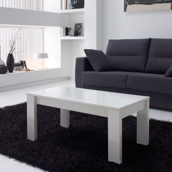 Table basse relevable blanche rectangulaire mobilier - Table basse rectangulaire blanche ...
