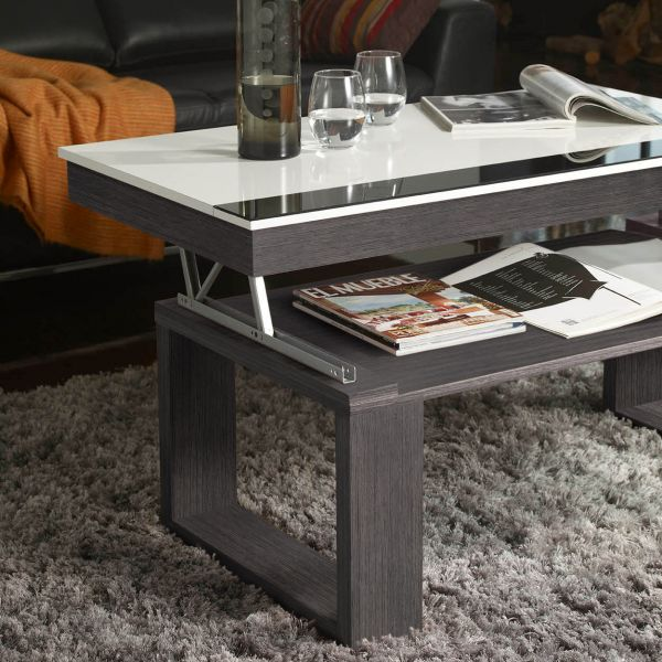Table basse relevable gris cendr table de lit a roulettes for Table basse kendra