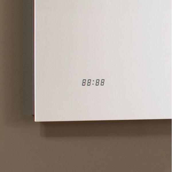 Miroir salle de bain r tro clairage horloge et antibu e for Miroir reflet