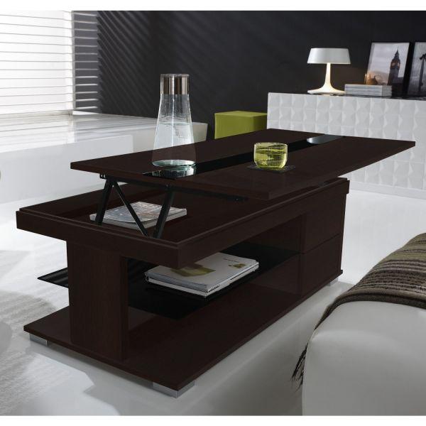 Table basse relevable weng et verre noir meuble - Table basse noir en verre ...
