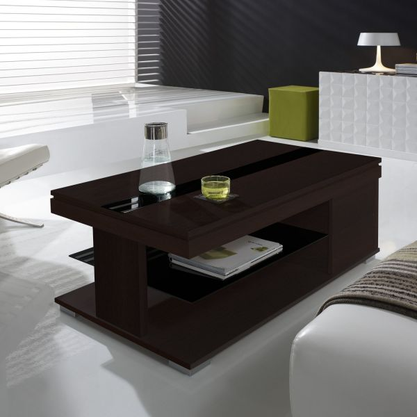 Table basse relevable weng et verre noir meuble for Table basse relevable wenge