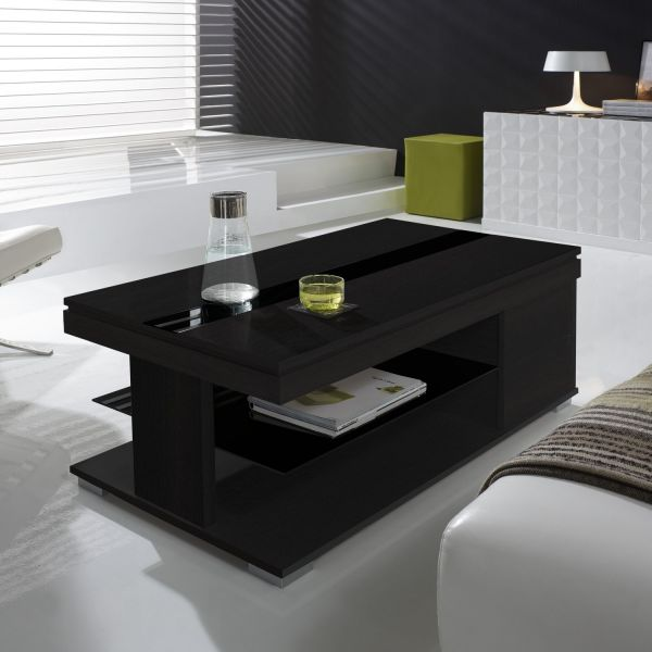 table basse relevable bois gris et verre noir meuble. Black Bedroom Furniture Sets. Home Design Ideas