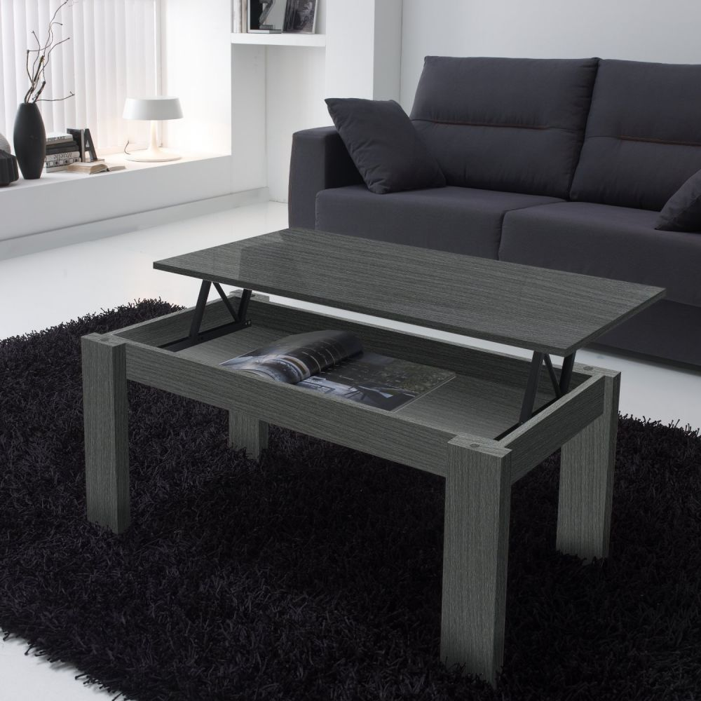 Table basse grise - Table basse bois gris clair ...