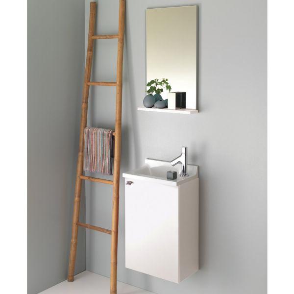 Miroir salle de bain avec tablette pop sanijura laqu blanc for Miroir tablette salle de bain