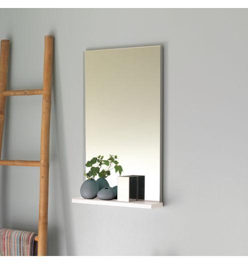 Miroir salle de bain avec tablette pop sanijura laqu blanc - Miroir de salle de bain avec tablette ...
