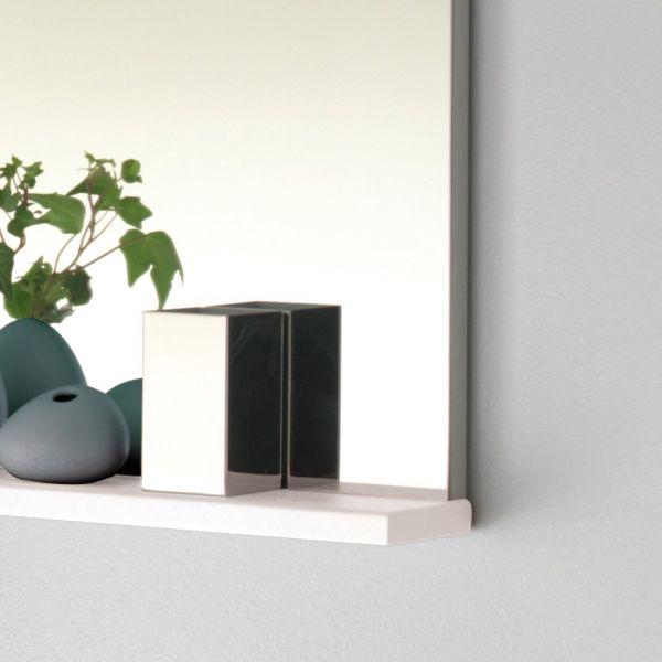 Miroir salle de bain avec tablette pop sanijura laqu blanc - Miroir tablette salle de bain ...