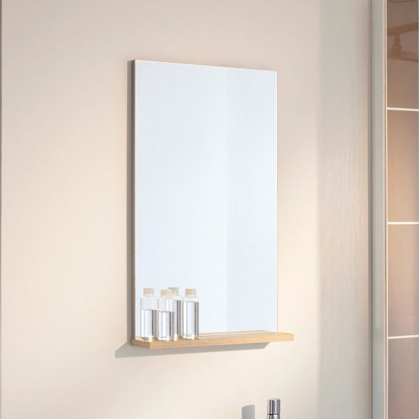Miroir salle de bain avec tablette pop nature sanijura for Miroir tablette