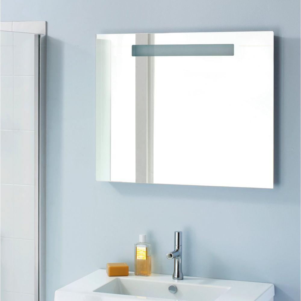 Miroir salle de bain rétro éclairage, horloge et antibuée   sanijura