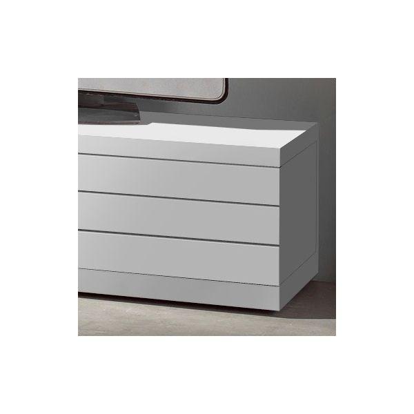 Meuble Tv Blanc Ancien : • Mobilier • Meuble Tv • Meuble Tv Laqué Blanc Placage Chêne