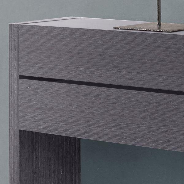 Meuble console placage bois gris 2 tiroirs for Meuble gris et bois