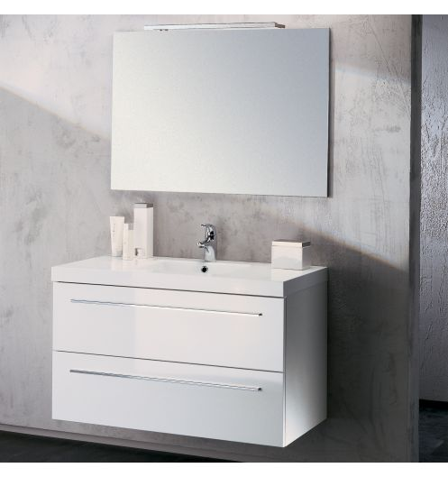 meuble vasque salle de bain sanijura horizon laqu blanc 105 cm. Black Bedroom Furniture Sets. Home Design Ideas
