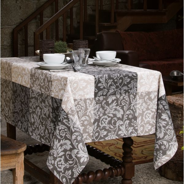 Nappe anti t che atenas nappe jacquard - Nappe rectangulaire grise ...