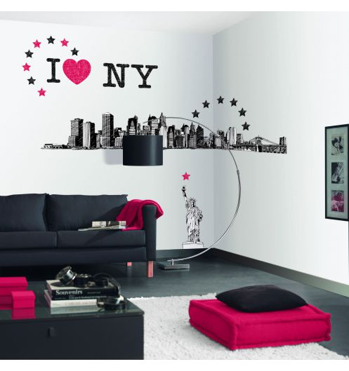 Stickers muraux chambre new york for Chambre fille new york