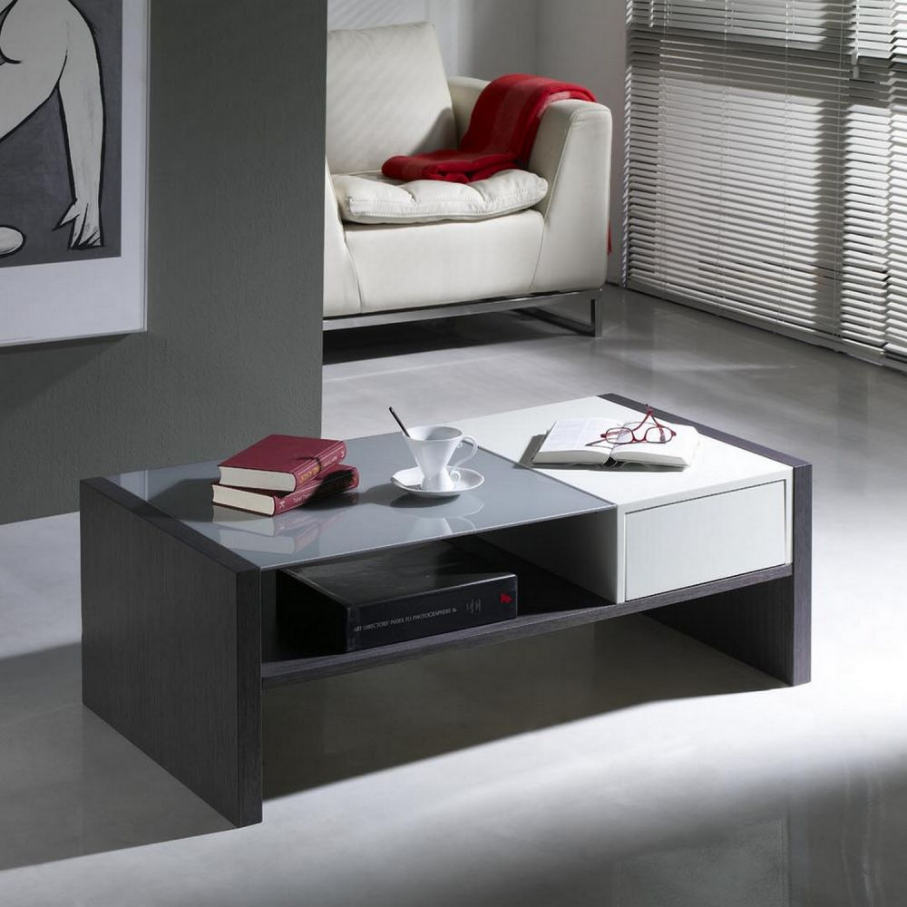 Table de salon blanc laque - Deco table basse salon ...