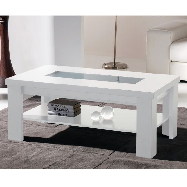Table basse relevable table salon for Table salon laque blanc