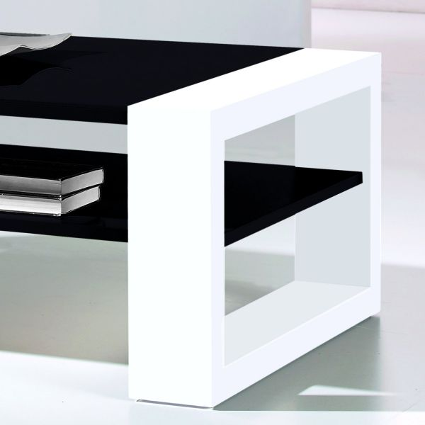 Table basse rectangulaire laqu - Table blanche et noir ...
