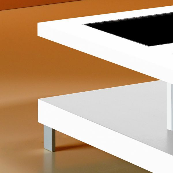Table basse laquee et verre - Table basse verre carree ...