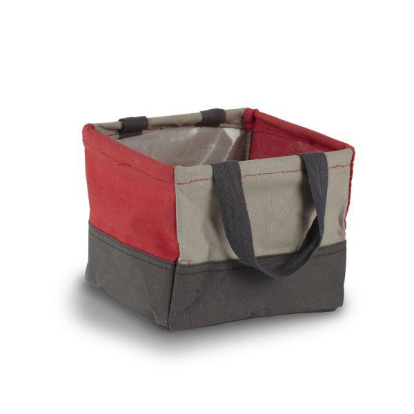 Panier rouge et gris umbra for Boite de rangement salle de bain