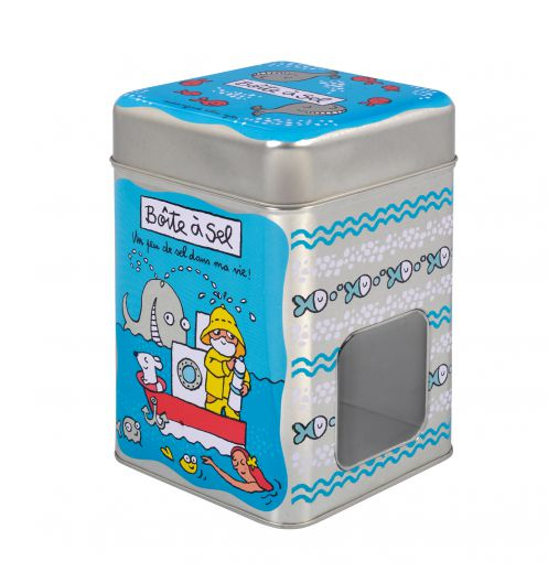 Boite sel en m tal bleu accessoires derri re la porte - Boite metal derriere la porte ...