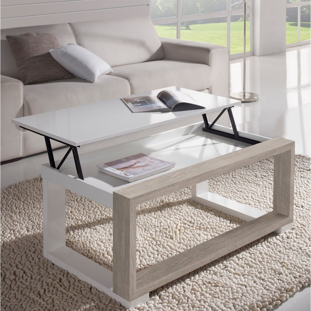 Table basse chene blanchi - Table de salon blanche ...