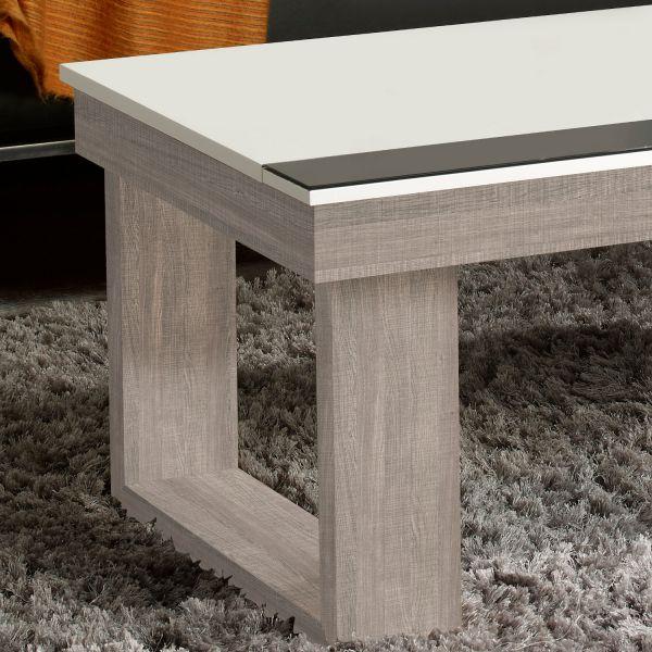 table basse relevable plateau blanc et pied ch ne blanchi. Black Bedroom Furniture Sets. Home Design Ideas