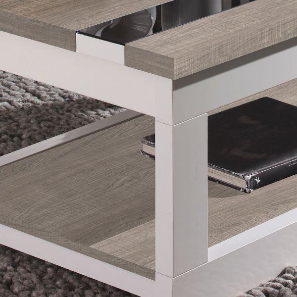 table basse relevable plateau ch ne blanchi et pied blanc. Black Bedroom Furniture Sets. Home Design Ideas