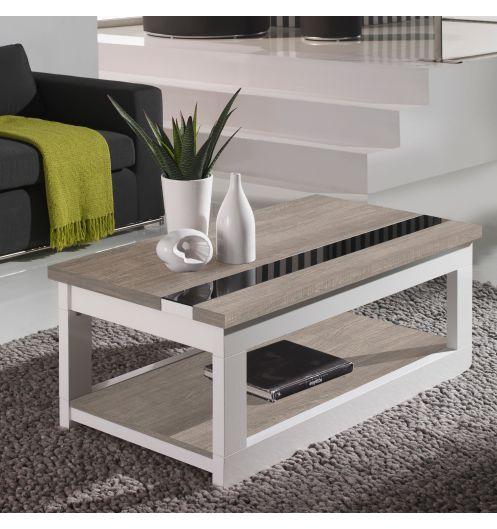 Table basse relevable plateau ch ne blanchi et pied blanc - Table basse relevable en bois ...