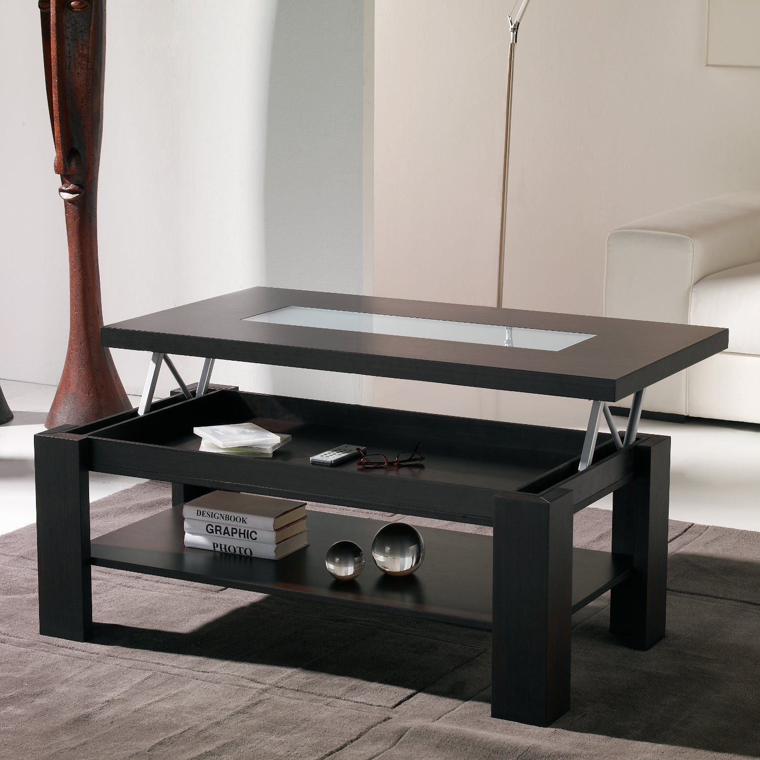 Table basse relevable de salon - Table de salon convertible ...