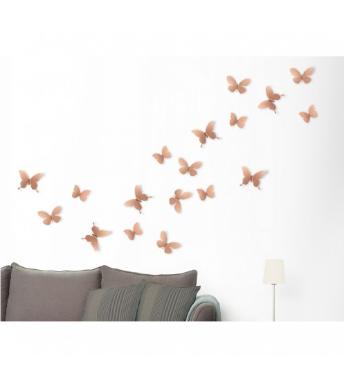 d coration murale papillons cuivr s deco murale umbra. Black Bedroom Furniture Sets. Home Design Ideas
