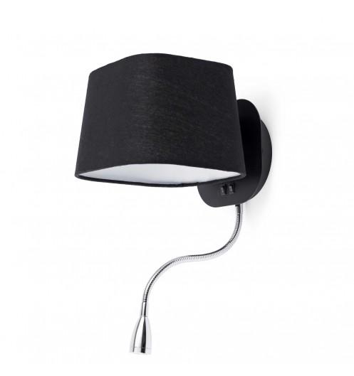 Applique luminaire noire liseuse led lampes design faro - Applique murale avec liseuse faro ...