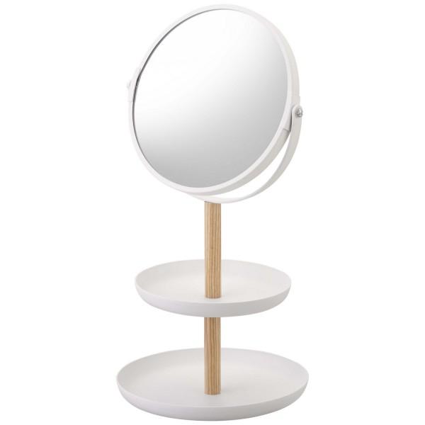 Porte bijoux blanc bois et acier design rangement bijoux avec miroir int gr - Miroir avec porte bijoux ...