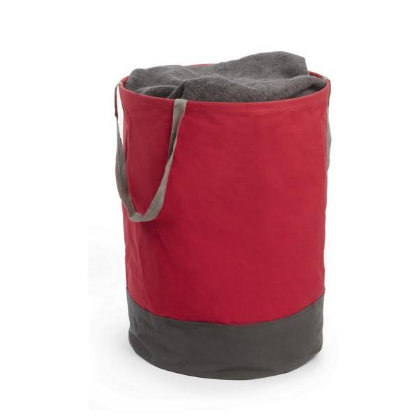 panier linge rouge et gris avec poign es paniere linge umbra. Black Bedroom Furniture Sets. Home Design Ideas