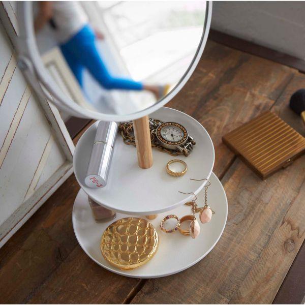 Porte bijoux blanc bois et acier design rangement bijoux avec miroir int gr - Miroir avec rangement bijoux ...