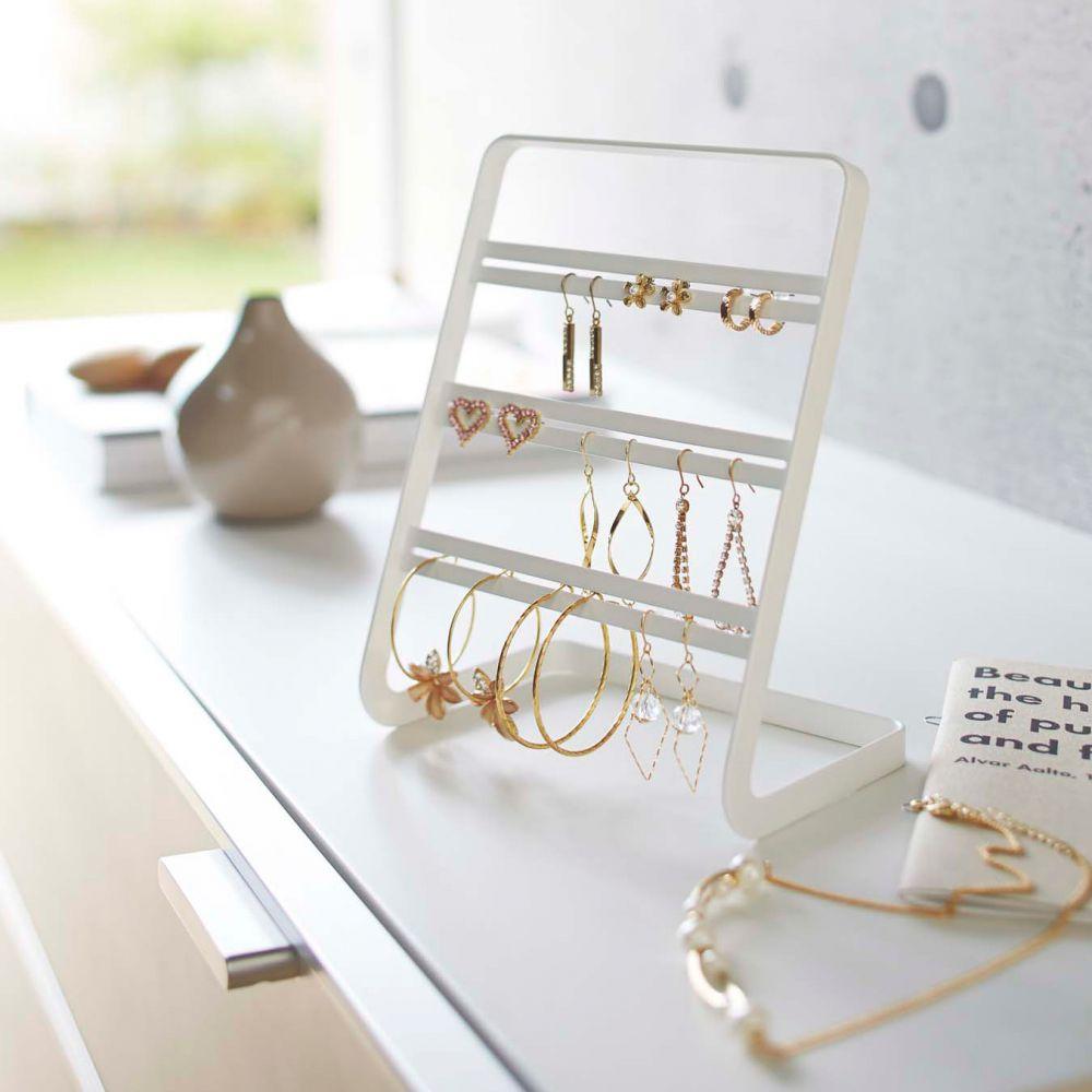 Arbre A Bijoux Design Blanc Acier Porte Boucle D Oreille Pas Cher