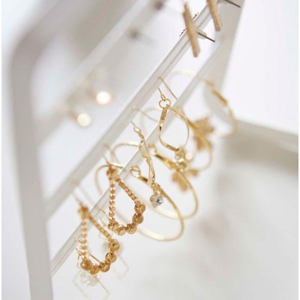 Arbre bijoux design blanc acier porte boucle d 39 oreille for Porte boucles d oreille