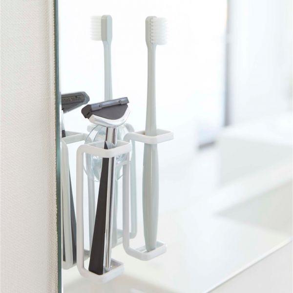 Porte brosse a dents blanc design et pratique accessoires salle de bain pas cher - Porte brosse a dent ventouse ...