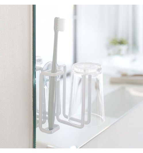 Porte brosse dents blanc ventouse original set salle for Decoration porte verre
