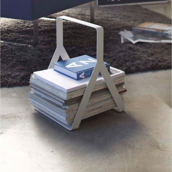 porte revues design m tal blanc porte journeaux transportable. Black Bedroom Furniture Sets. Home Design Ideas