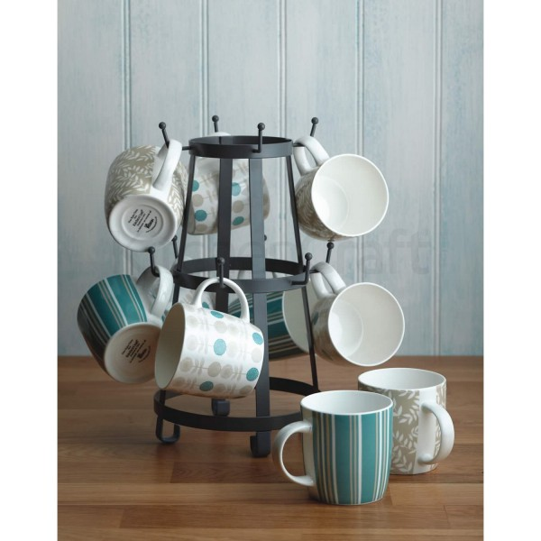 porte tasse en fer avec 10 crochets pour tasses ou mugs kitchen craft. Black Bedroom Furniture Sets. Home Design Ideas
