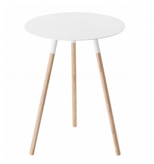 table d 39 appoint bois et m tal blanc pour le salon bout de canap original. Black Bedroom Furniture Sets. Home Design Ideas